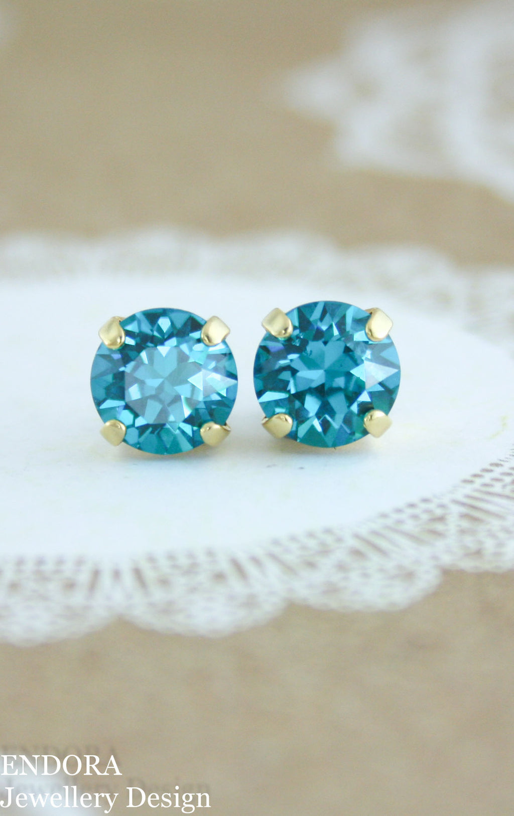 Amelia earrings | Swarovski crystal | 8mm Blue Zircon