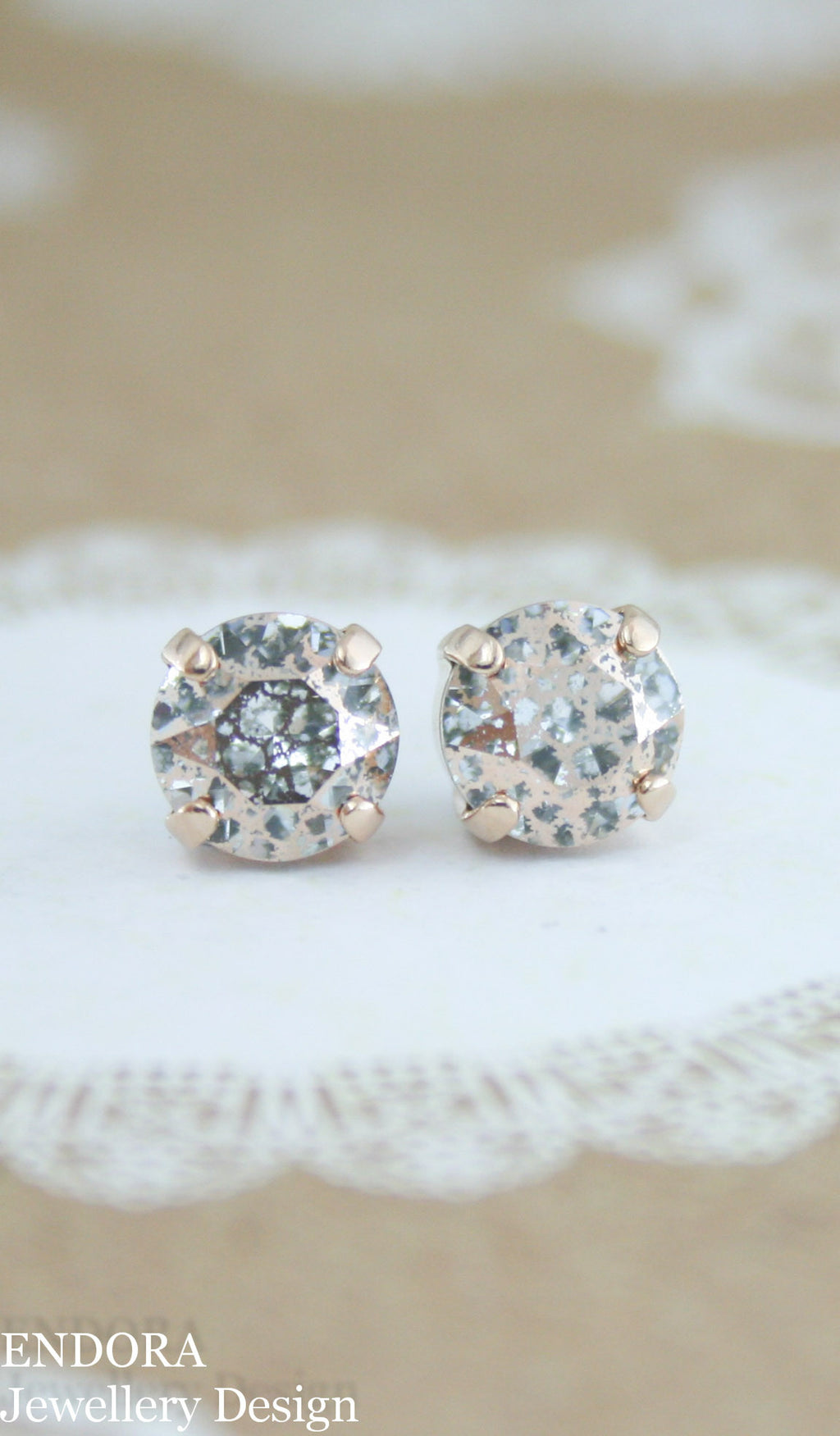 Swarovski crystal rose patina crystal stud earrings