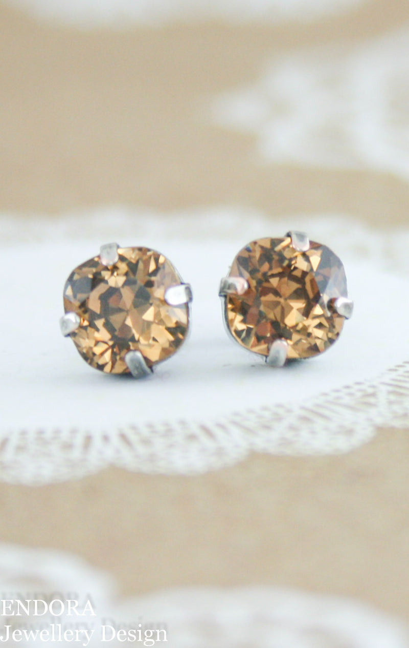 Vintage Swarovski 8mm Cushion cut light smoked topaz stud earrings