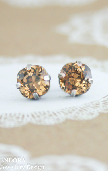 Jessica earrings | Vintage Swarovski crystal | 8mm Square Light smoked topaz