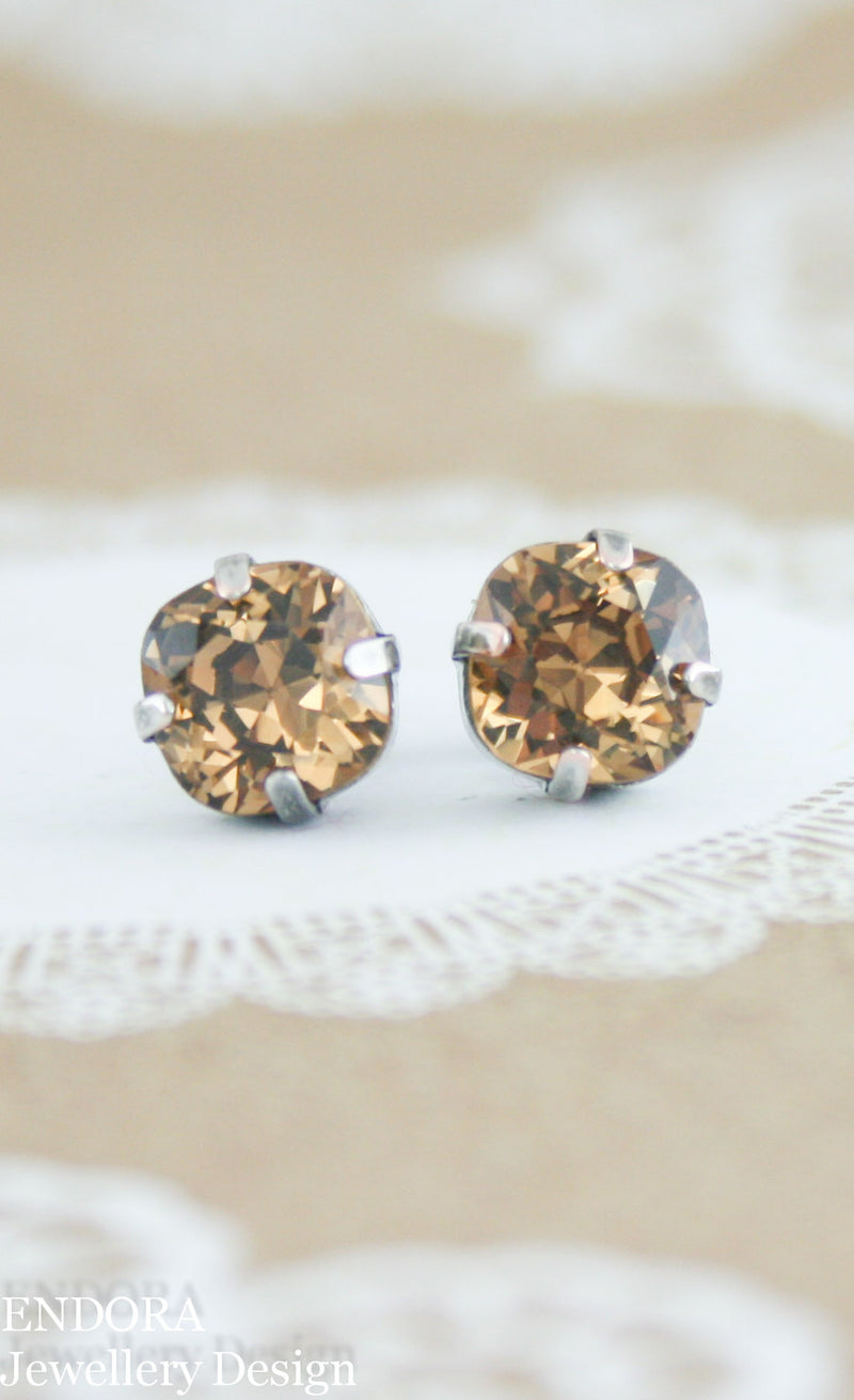 Swarovski 8mm square light smoked topaz earrings