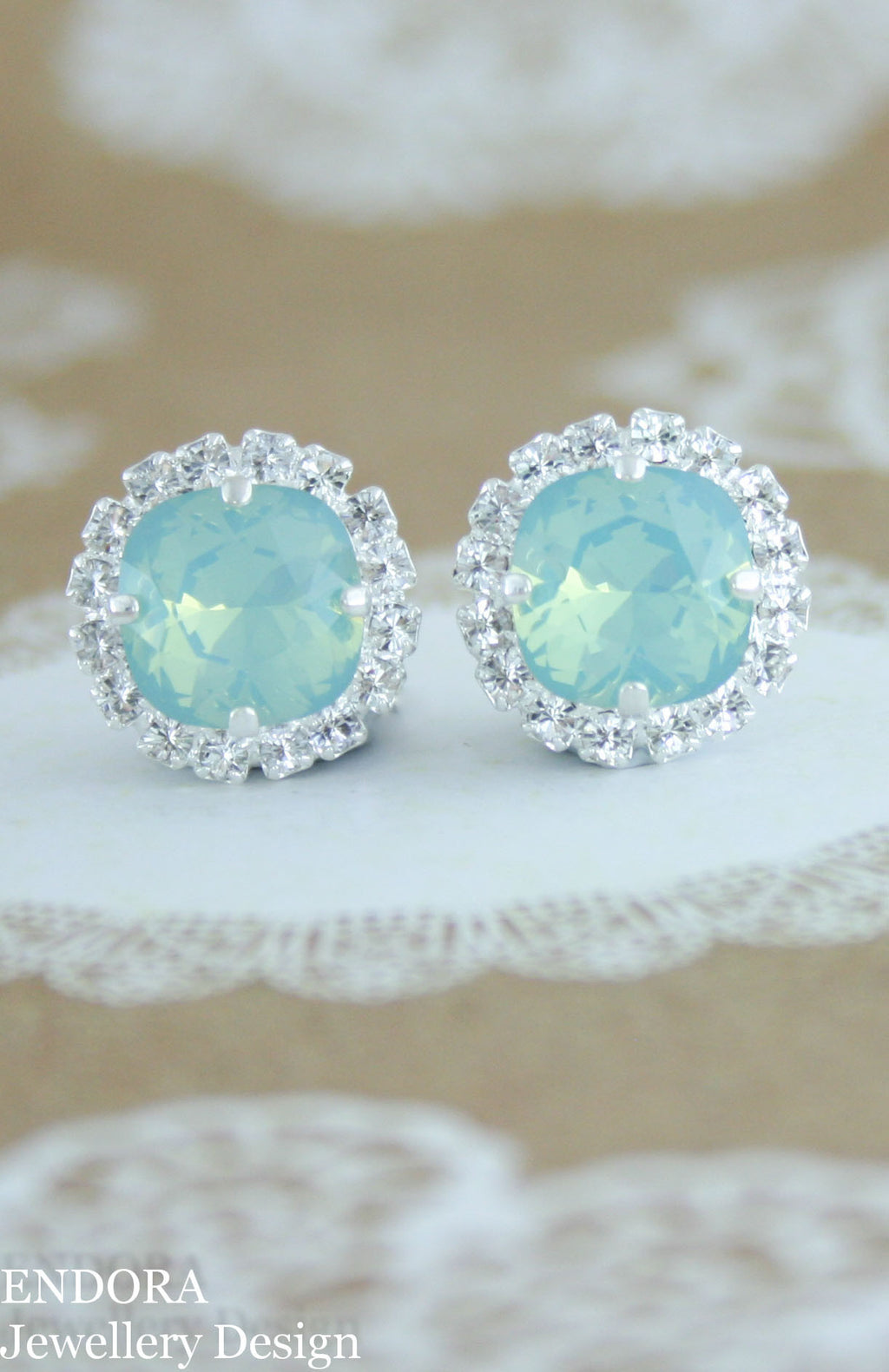 Swarovski Pacific opal 10mm earrings