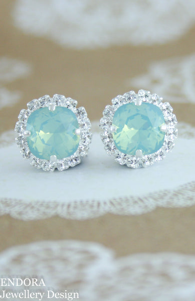 Jessica Halo earrings | Swarovski crystal | 10mm square Pacific opal and clear crystal accent