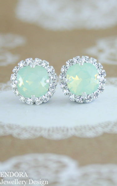 Jessica Halo earrings | Swarovski crystal | 10mm Chrysolite opal and clear crystal accent