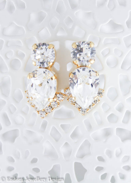Abigail - Statement bridal earrings | Swarovski crystal | Clear crystal