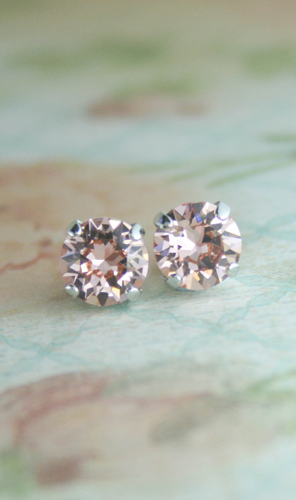 Amelia earrings | Swarovski crystal | 8mm Vintage rose