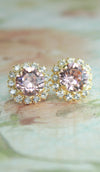 Blush crystal earrings -yellow gold option