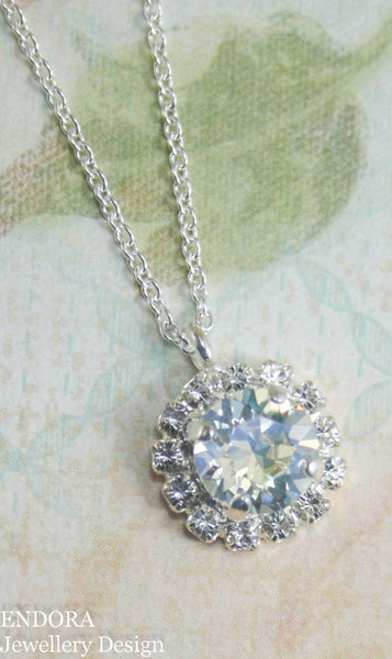 Amelia Halo Pendant necklace | Swarovski Crystal | 8mm Moonlight and clear crystal accent