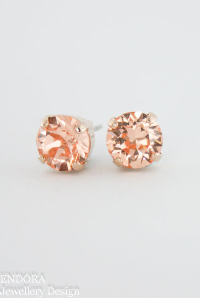 Amelia earrings | Swarovski crystal | 8mm Light peach