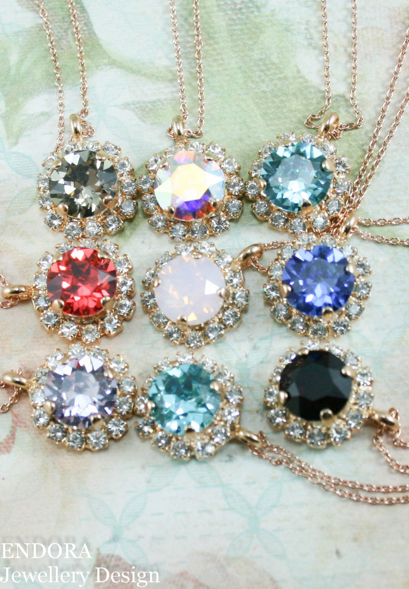 Crystal halo pendant necklace