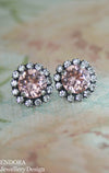 Blush crystal earrings - Antique silver option