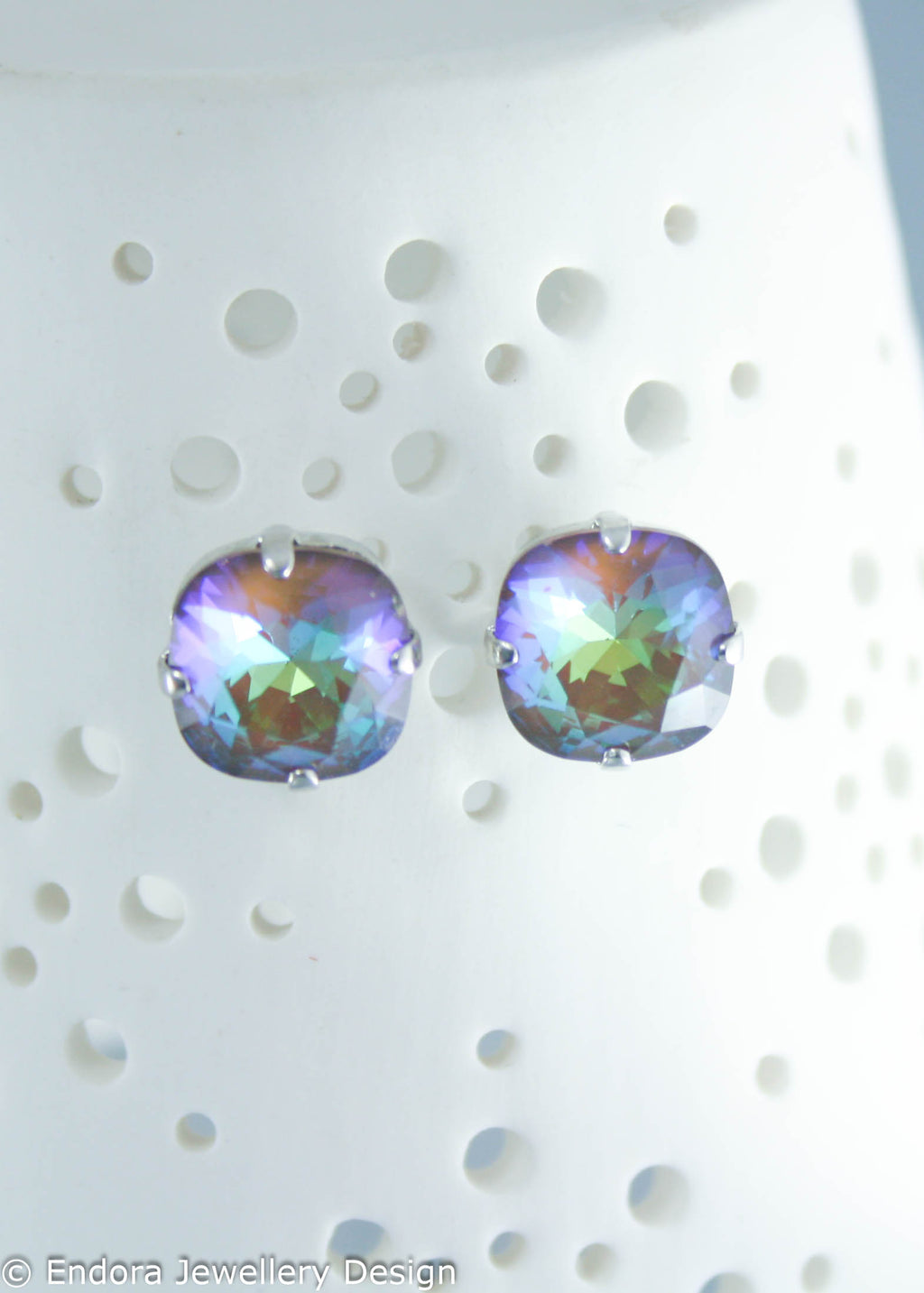 Swarovski limited edition 10mm cushion cut earrings Cocoa