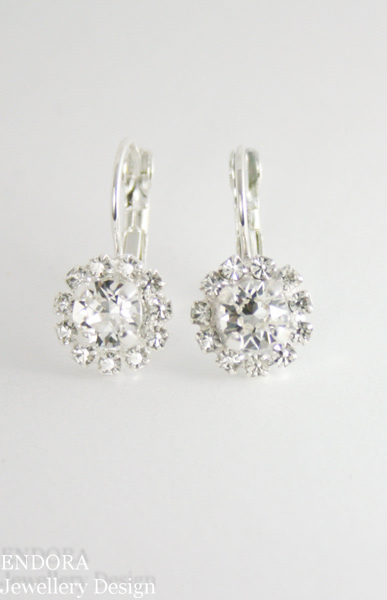 Amelia Petite Halo | Swarovski crystal | 6mm Clear crystal centre and clear accent