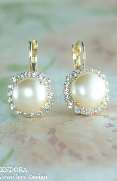 Grace Halo pearl earrings | 12mm Pearl earrings and clear crystal accent