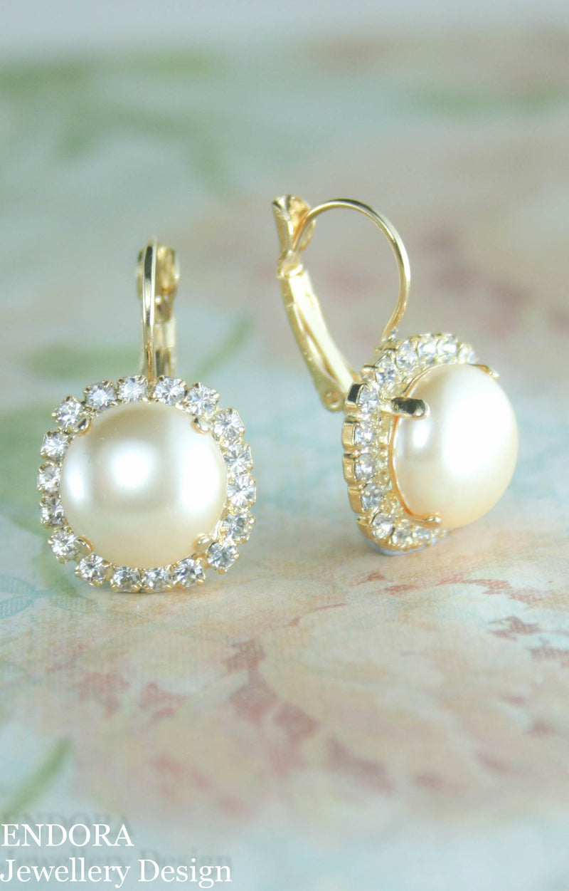 12mm Pearl drop leverback earrings