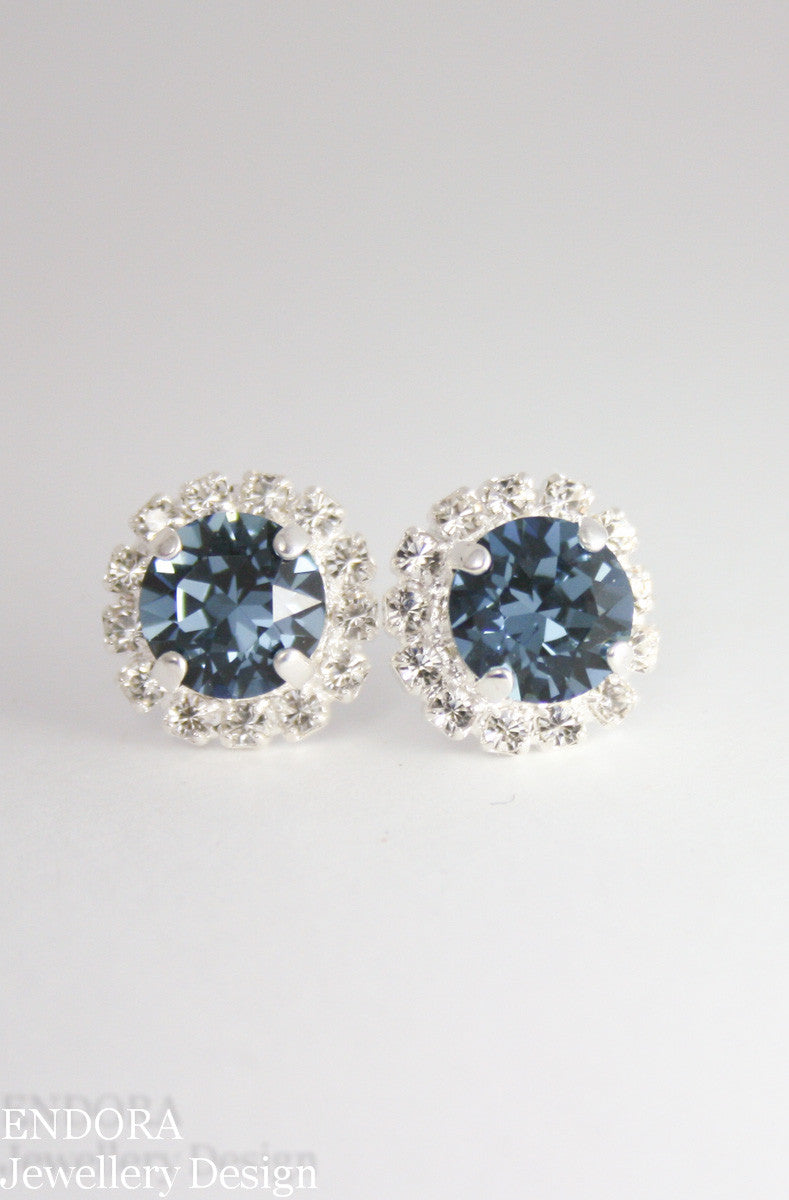 Swarovski Denim blue crystal halo stud earrings
