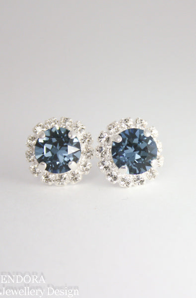 Amelia Halo Earrings | Swarovski Crystal | 8mm Denim blue and clear crystal accent