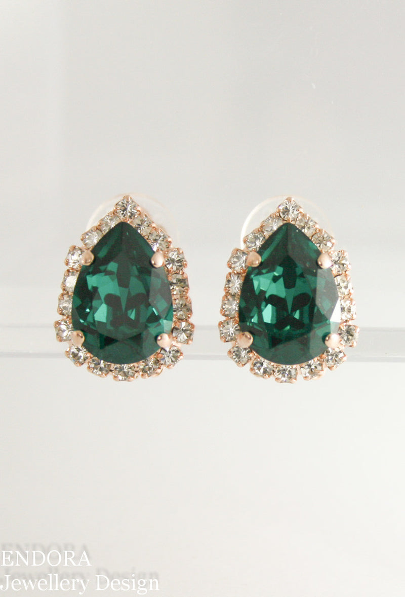 Addison Halo Clip on earrings | Swarovski clip on earrings | Emerald Clip on earrings