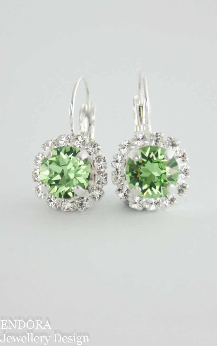 Swarovski peridot crystal earrings