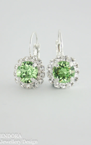 Amelia Halo Earrings | Swarovski Crystal | 8mm Peridot and clear crystal accent