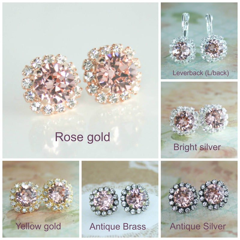 Amelia Halo earrings | Swarovski crystal | 8mm Vintage rose and clear crystal accent