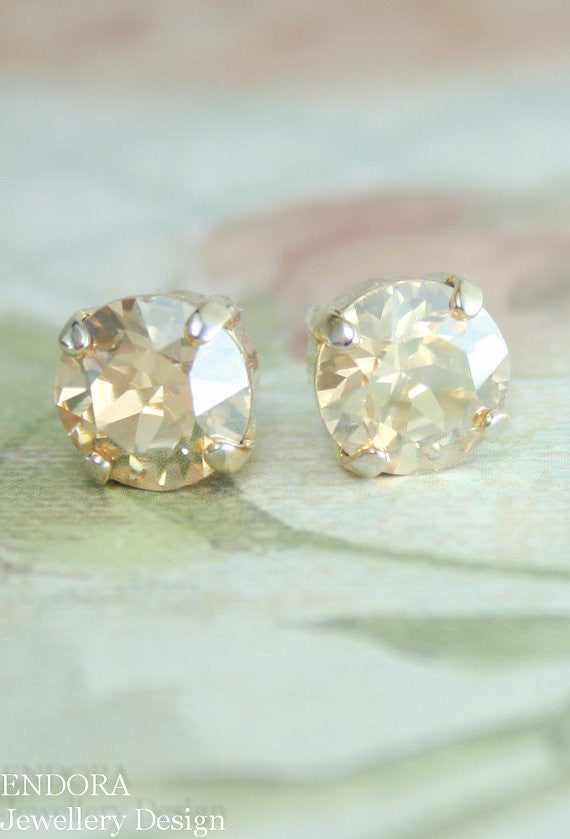 Swarovski golden shadow 8mm crystal stud earrings