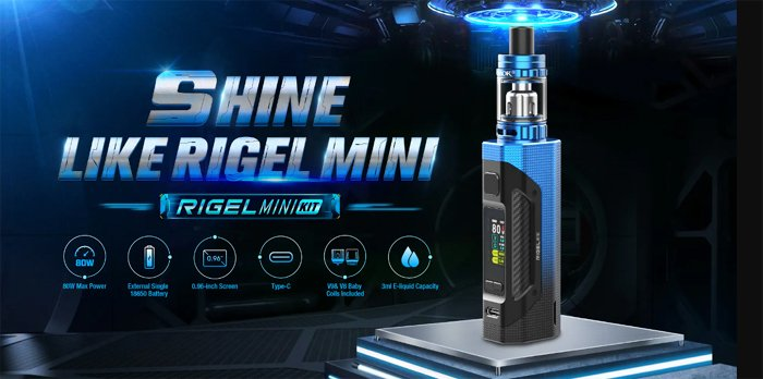 A Smok Rigel Mini vape device with text and graphics surrounding it.