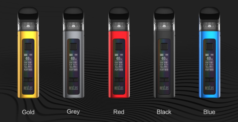 Five Uwell Aeglos vape pod kits displayed in 5 colors.
