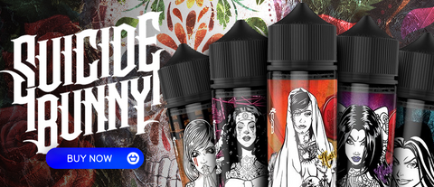 A variety of displayed vape juice bottles by Suicide Bunny with their logo placed to the left.