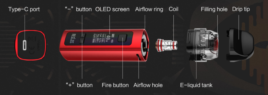 An exploded view of the Uwell Aeglos vape where all pieces are visible.