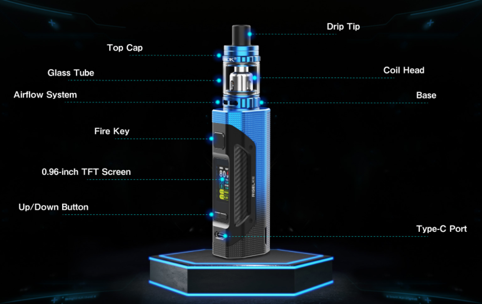 A blue SMOK Rigel Mini vape device with text indicating its parts.