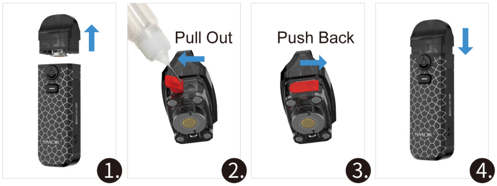 An instructional graphic showing the steps to refill a SMOK Nord 4 pod with e-juice.