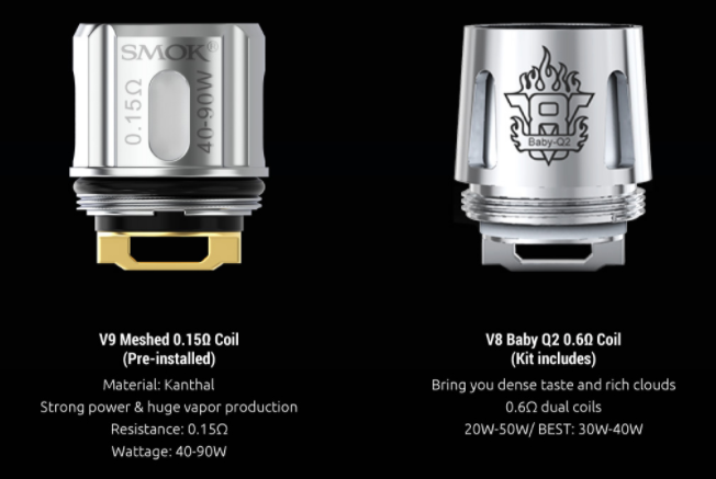 Two SMOK coils with text beneath explaining their qualities.