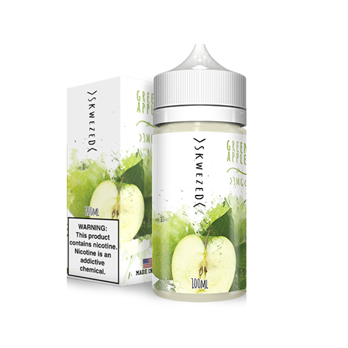 A green apple vape juice by Skwezed and its box.