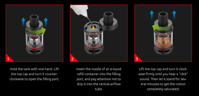 A 3-step guide to refilling the SMOK TFV9 mini tank.