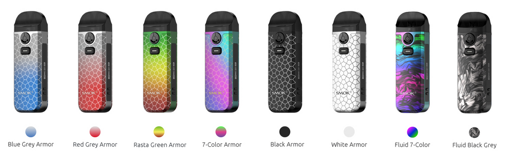 Several SMOK Nord 4 vapes with their colors labelled beneath.