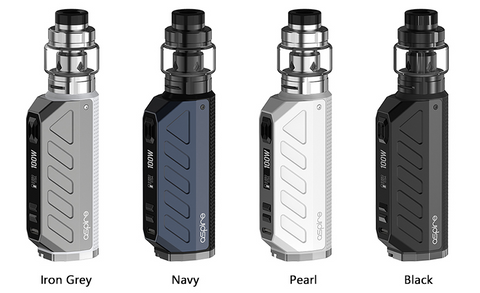 Four Aspire Deco vape mods displayed in four available colors.