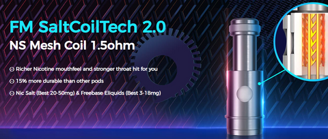 A CGI image of a vape coil with text describing its technology.