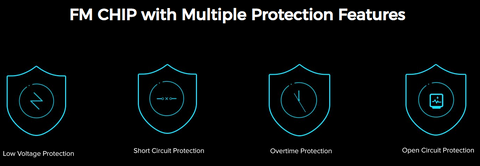 A graphic containing text and icons describing the Freemax Circle vape's safety features.