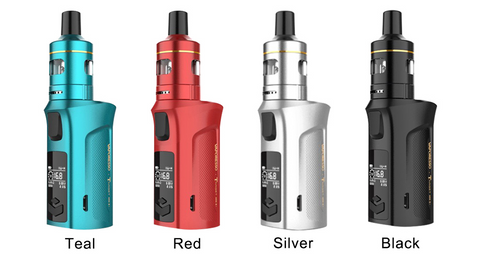 The Vaporesso Target Mini 2 displayed in blue, red, silver, and black.