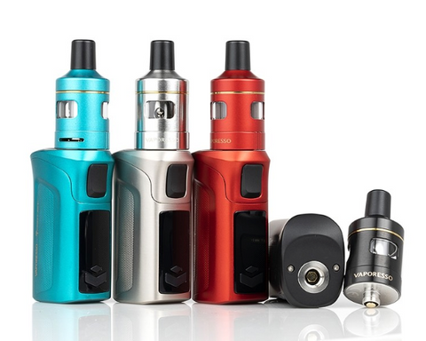 Vaporesso Target Mini 2 in four colors, with one disassembled.