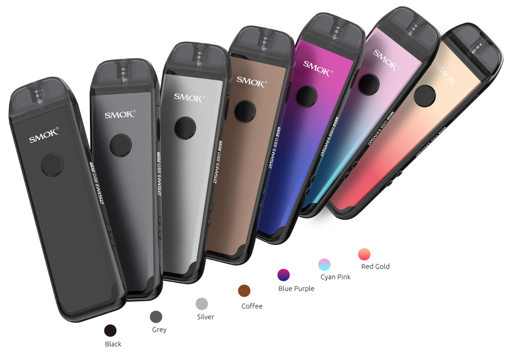 Several SMOK vape devices displayed in an array of colors.