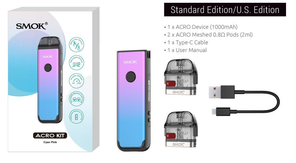 A SMOK Acro vape kit with all included parts displayed.