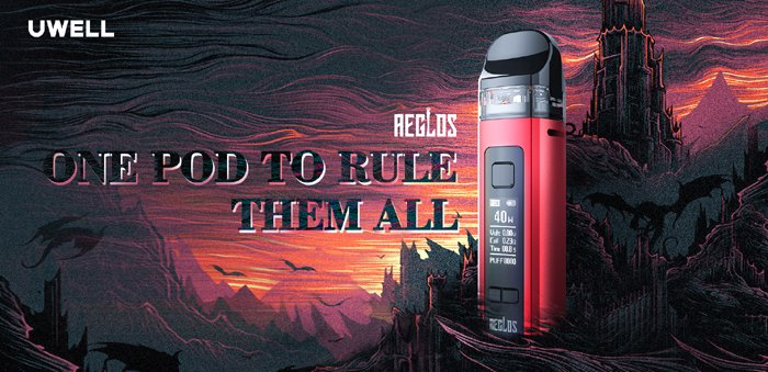 A Uwell Aeglos vape device in front of a medieval animated background.
