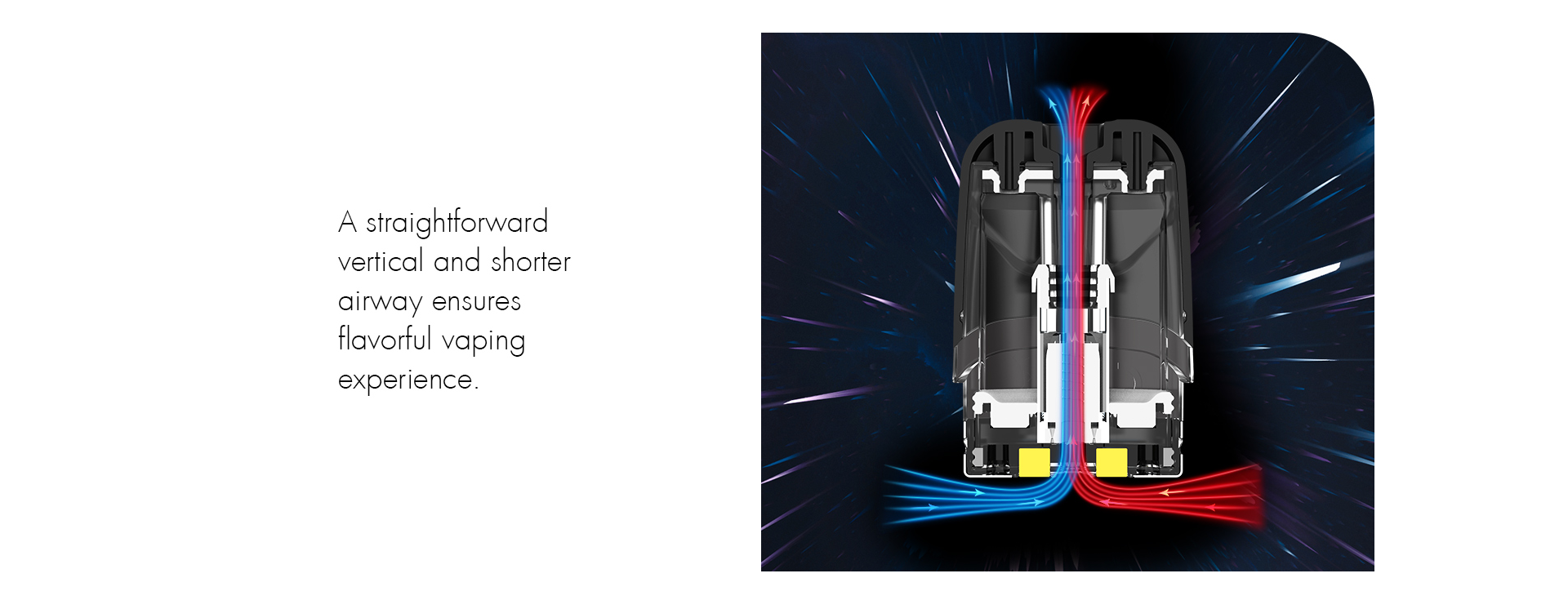 A depiction of a vape pod with arrows showing the airflow route.