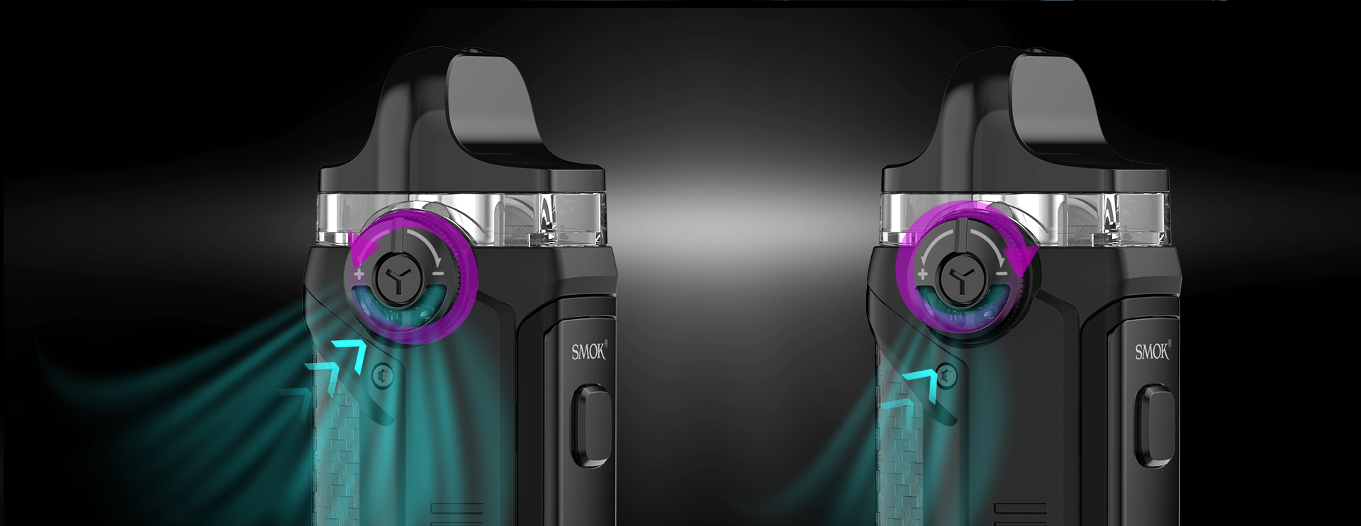A graphic displaying an exterior airflow feature on the SMOK IPX80 vape.