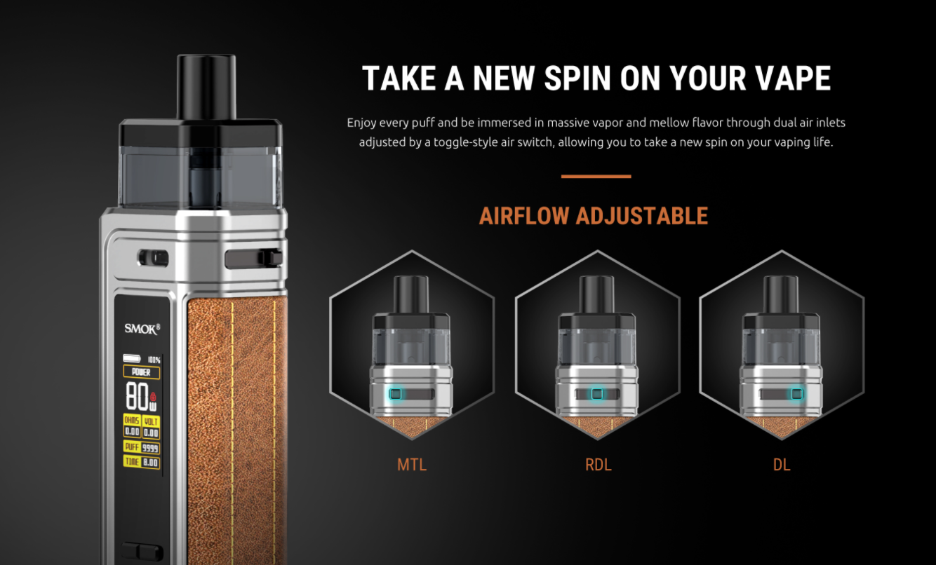A silver vape next to graphics displaying its adjustable airflow mechanism.