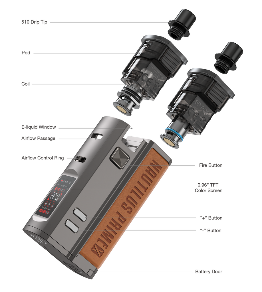 An exploded view of the Aspire Nautilus Prime X vape.