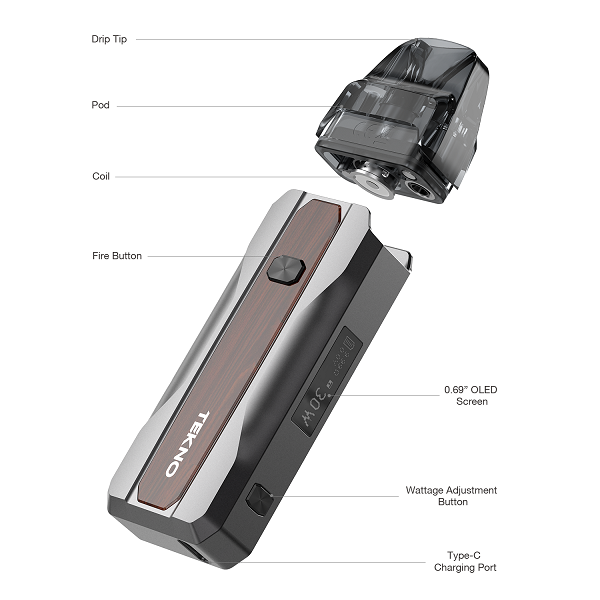 An exploded view of the Aspire Tekno pod device with parts labelled.