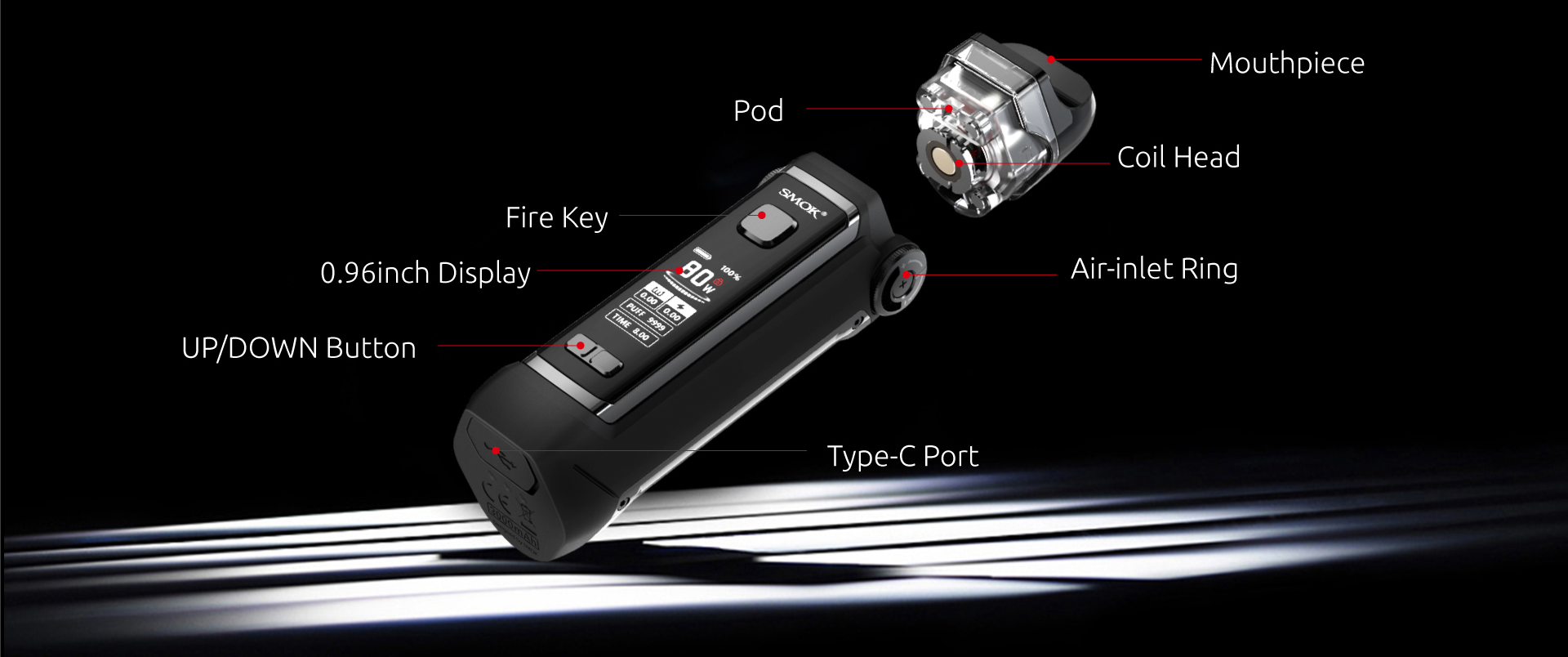 An exploded view of a  black SMOK vape atop a black background.